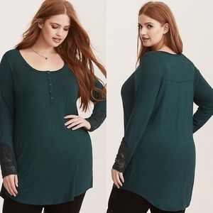 Torrid Green Super Soft Lace Sleeve Henley Tunic